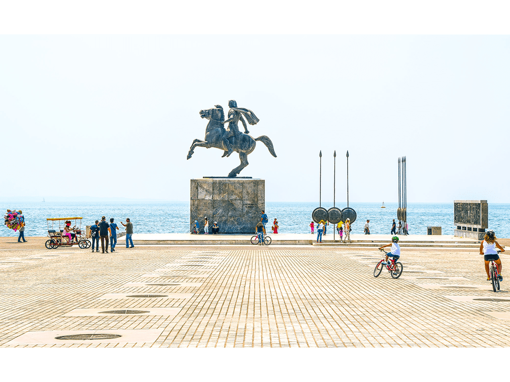 Statue of Alexander the Great and people at square